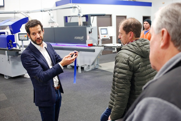 Felder Product Manager Stephan Kuenzel during the recent Open House and PUR-glue seminar.