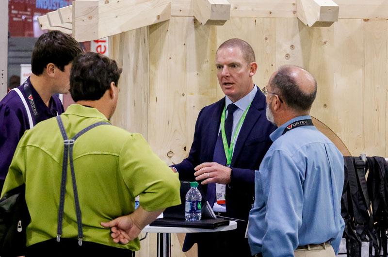 Biesse Canada's Matt Fleming talking to customers.