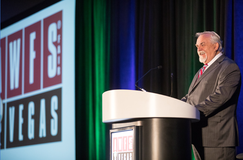 John Ratzenberger delivered the keynote at AWFS Fair.